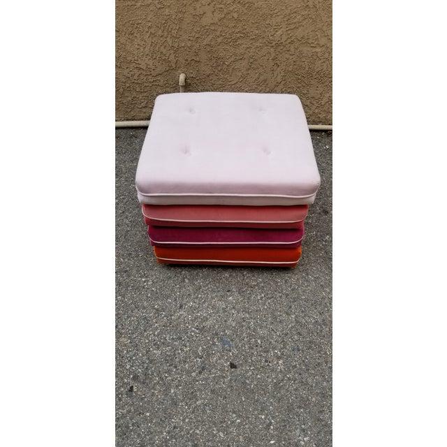 2020s Custom Made Velvet Multi Color Otttoman For Sale - Image 5 of 5