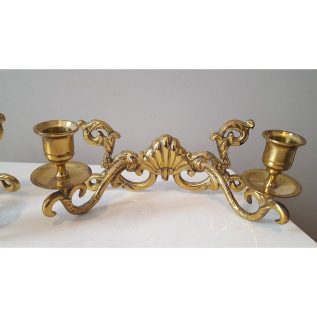 Hollywood Regency Brass Shell Two-Arm Candle Sconces - A Pair - Image 3 of 5