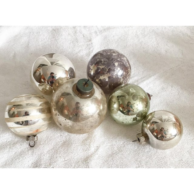 delightful set of six silvery green mercury glass style christmas ornaments circa 1950s - Mercury Glass Christmas Decorations