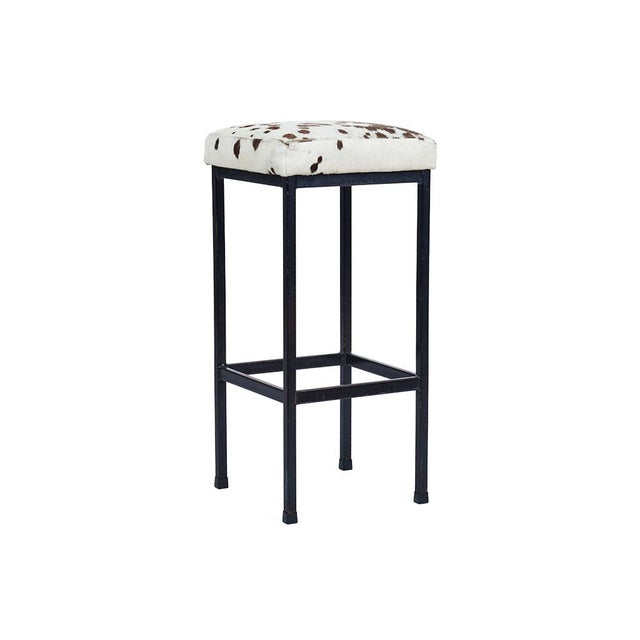 Mid-Century Retro Iron and Cowhide Barstools - A Pair - Image 3 of 6