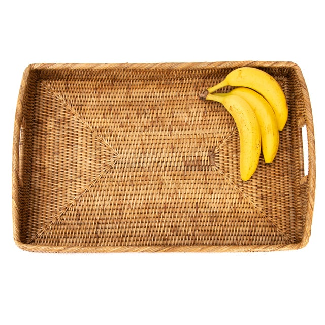 "Artifacts Rattan Rectangular Tray 21""x14""x2"" For Sale - Image 4 of 6"