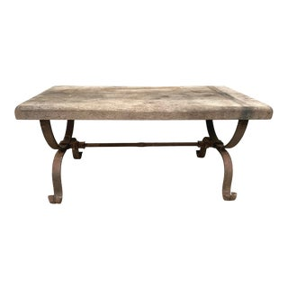 Vintage French Coffee Table With Wrought Iron Base For Sale