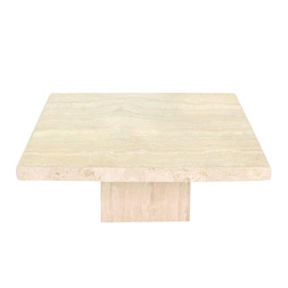 Square Solid Travertine Coffee Table For Sale