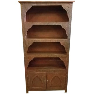 Modern Cedar Moroccan Carved Wood Brown Bookcase For Sale