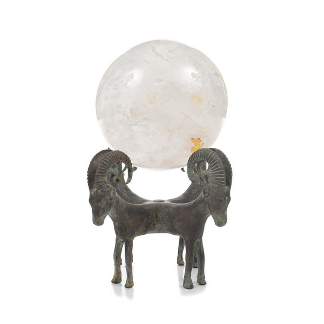 Bronze Rock Crystal Globes on Bronze Stands - A Pair For Sale - Image 7 of 9