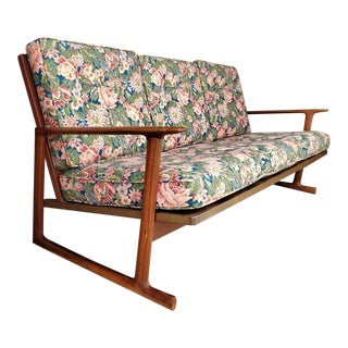 Vintage 1960s Ib Kofod Larsen Lattice-Back Sofa for Selig For Sale