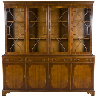 English Yew Wood Four Door Breakfront Bookcase