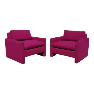 1970s Milo Baughman Style Cube Club Chairs - a Pair For Sale