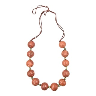 Large Fossilized Coral Bead Necklace For Sale