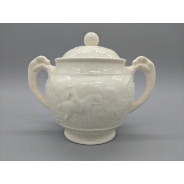 Vintage English Wedgewood Ivory Tea Set - Set of 3 - Horse and Dog Motif For Sale - Image 10 of 11