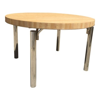 Retro Butcher Block & Chrome Dining Table For Sale