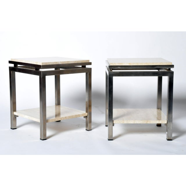 Pair of Two-Tier Travertine Side Tables in the Style of Guy Lefevre For Maison Jansen For Sale - Image 4 of 11