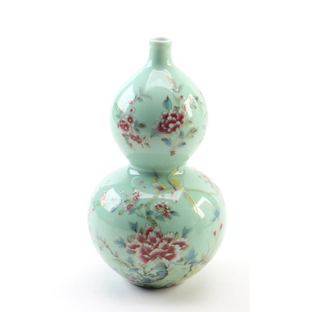 1980s Chinese Celadon Porcelain Double Gourd Vases With Hànzì and Floral Motif - a Pair For Sale - Image 5 of 13
