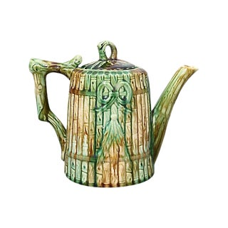 Antique English Majolica Bamboo Tea Pot For Sale