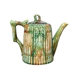 Antique English Majolica Bamboo Tea Pot For Sale