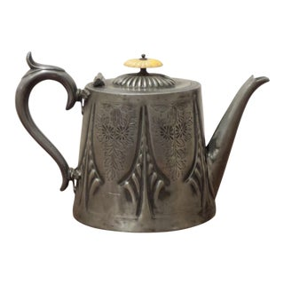 Antique English Engraved Pewter Teapot For Sale