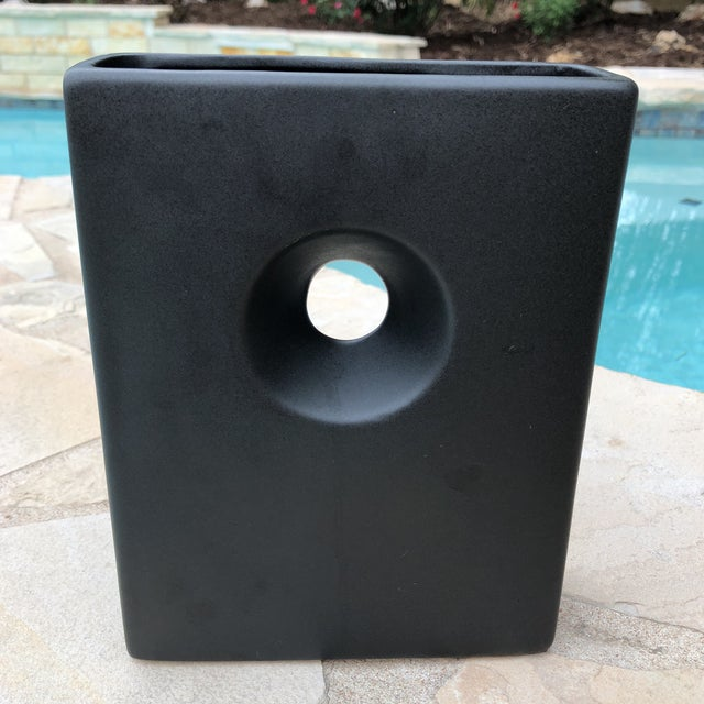 Ceramic Modernist Matte Black Ilebana Vase For Sale - Image 7 of 11