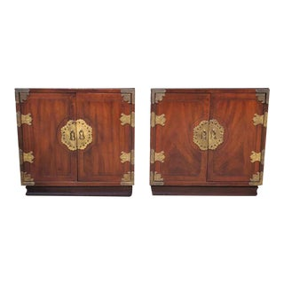 Asian Style Campaign Nightstands by Henredon For Sale
