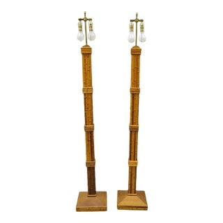 Vintage Tiki Rattan Hollywood Regency Wood Faux Bamboo Floor Lamps - a Pair For Sale