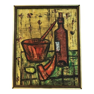 Mid Century French School Still Life, in the Manner of Bernard Buffet For Sale