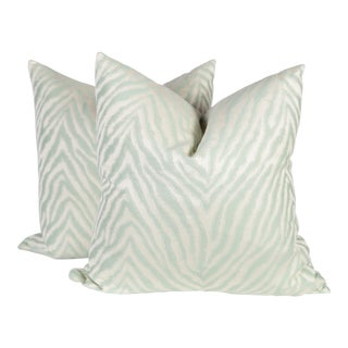 Light Green Sateen Zebra Pillows, a Pair For Sale