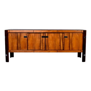 Mid Century Scandinavian Two-Tone Rosewood Buffet Credenza With Nickel Hardware For Sale