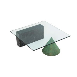 1980s Modern Massimo Vignelli Glass Top Coffee Table For Sale