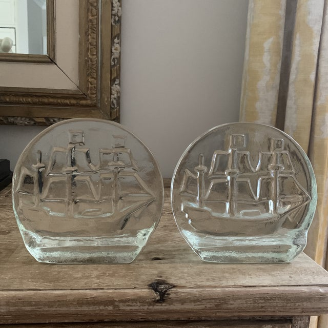 Glass Blenko Glass Sailing Ship Bookends- a Pair For Sale - Image 7 of 7