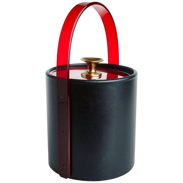 Willy Rizzo 1980s Art Deco Style Amber Lucite, Brass and Leatherette Ice Bucket For Sale - Image 4 of 4