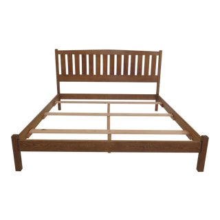 1990s Arts and Crafts Stickley King Size Mission Oak Slat Back Bedframe For Sale