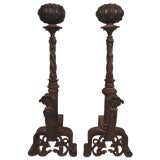 Image of 19th Century Pair of Italian Iron and Bronze Andirons For Sale
