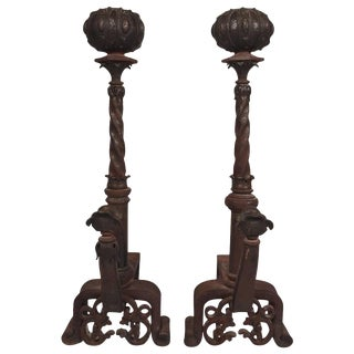 19th Century Pair of Italian Iron and Bronze Andirons For Sale