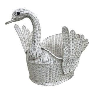 Regency Style Wicker Swan Basket For Sale