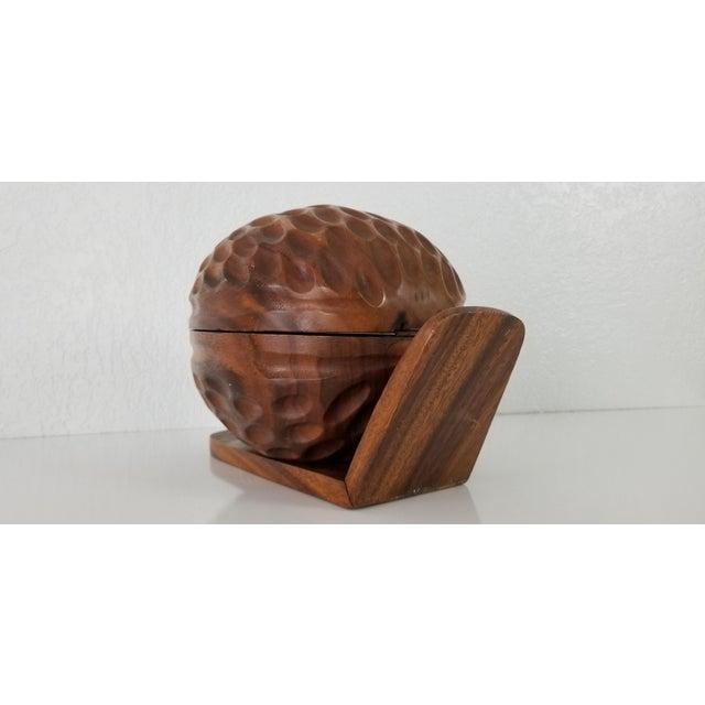 1970s Large Sculptural Walnut Shape Decorative Wood Box For Sale - Image 5 of 9