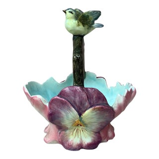 French Majolica Flowers Basket With Bird Jean Massier, Circa 1890 For Sale