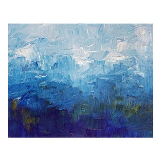 Abstract Impressionist Original Painting Canvas Landscape Sky Modern Blue White Impasto