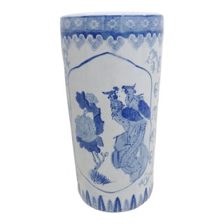 Chinese Blue & White Porcelain Umbrella Holder For Sale