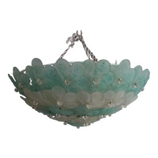 Mid-Century Modern Murano Flush Mount Chandelier Floral For Sale