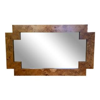 1960s Vintage Milo Baughman Style Italian Geometric Olive Burl Wood Mirror For Sale