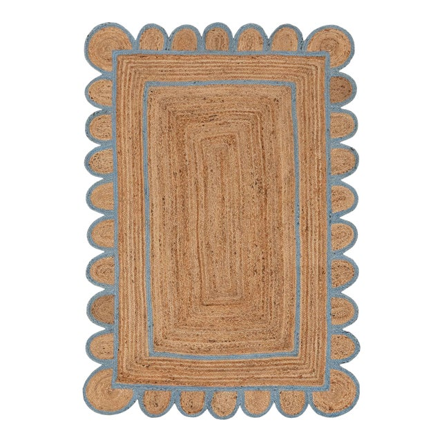 Scallop Jute Classic Blue Hand Made Rug - 5x7Ft. For Sale