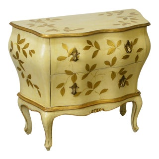 1950s Italian Partial Gilt Painted Bombe Commode Accent Chest Nightstand