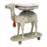 Image of Mid-Century Anglo-Indian Carved White Washed Camel Form Side Table For Sale