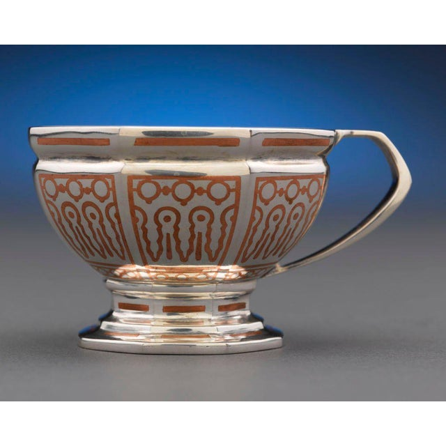Early 20th Century Tiffany & Co, Copper Inlaid Silver Punch Service For Sale - Image 5 of 8