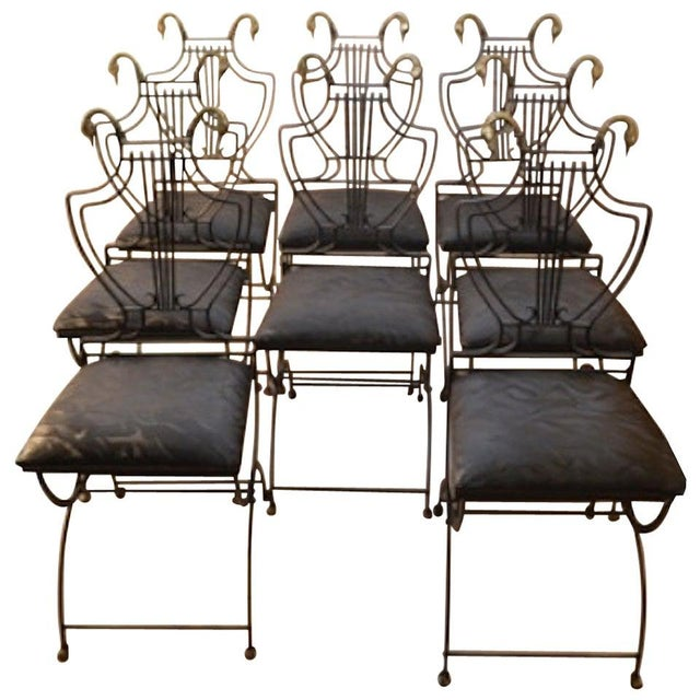 Early 20th Century Set of Eight Italian Regency Lyre Back Classical Form Dining Chairs For Sale - Image 5 of 5