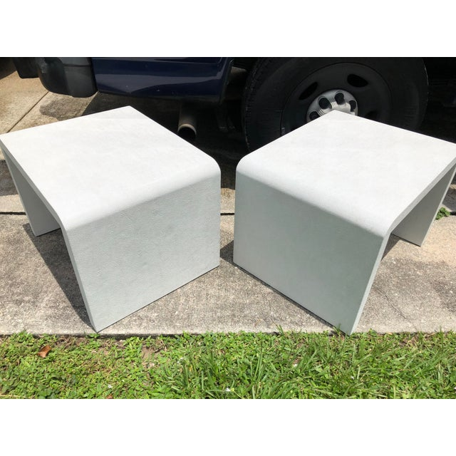 Late 20th Century 20th Century Modern Made Goods Faux Shagreen Waterfall Side Tables - a Pair For Sale - Image 5 of 8