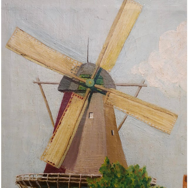 """C. Busch """"Dutch Windmill"""" Oil Painting For Sale - Image 4 of 10"""