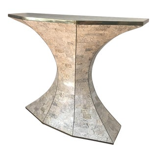 Maitland-Smith Tessellated Fossil Stone Demi-Lune Table with Brass Inlays