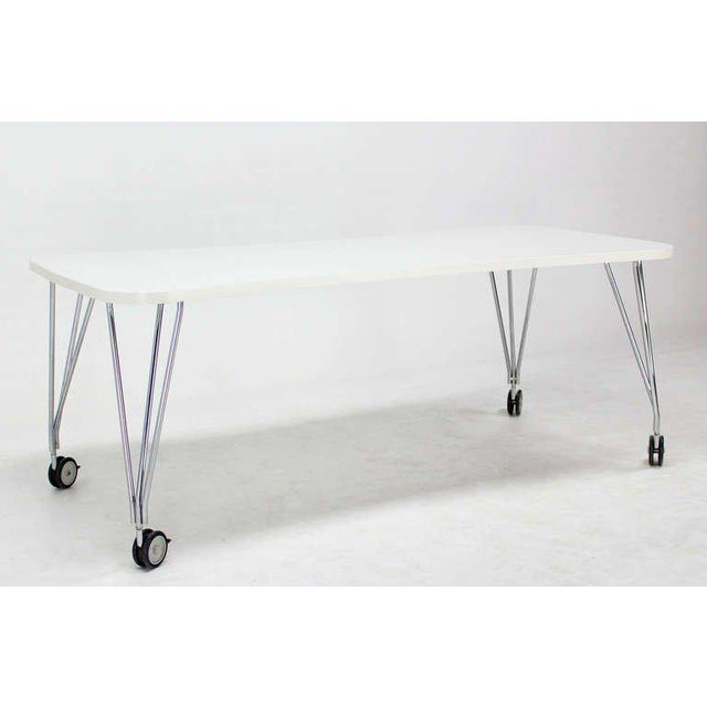 White laminate vintage Kartel Max medium size dining conference table.