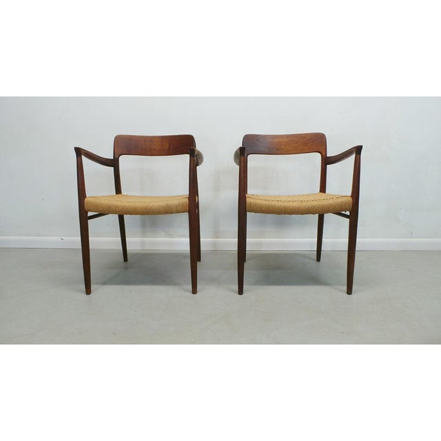 Mid Century j.l. Moller Danish Modern Teak Framed Rope Seat #56 Arm Dining Chairs by j.l. Moller For Sale - Image 11 of 11