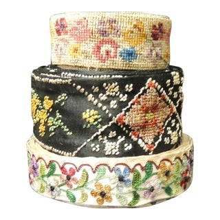 Set of (3) Vintage Victorian Silk Embroidered and Woven Floral Decorative Trims For Sale